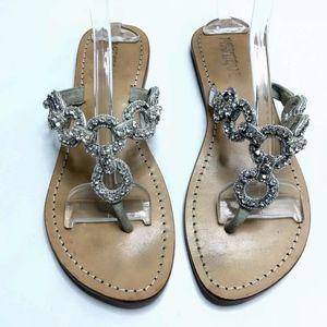 Mystique Jewelled Sandals Thong Flip Flop Silver